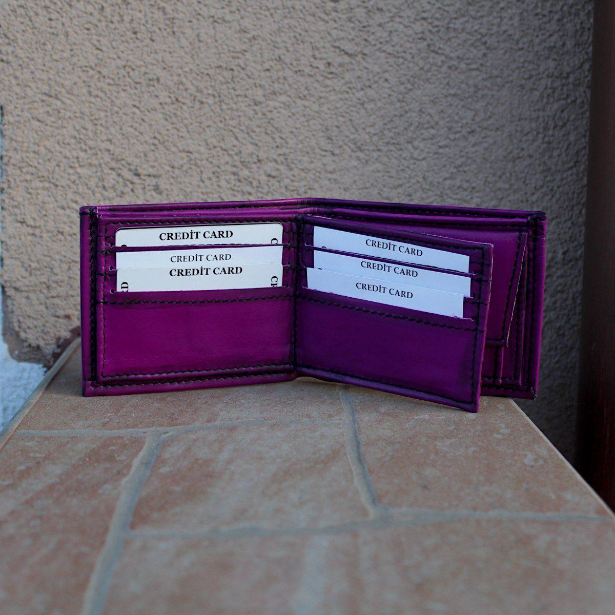 Мъжки кожен портфейл цвят лилав отворен