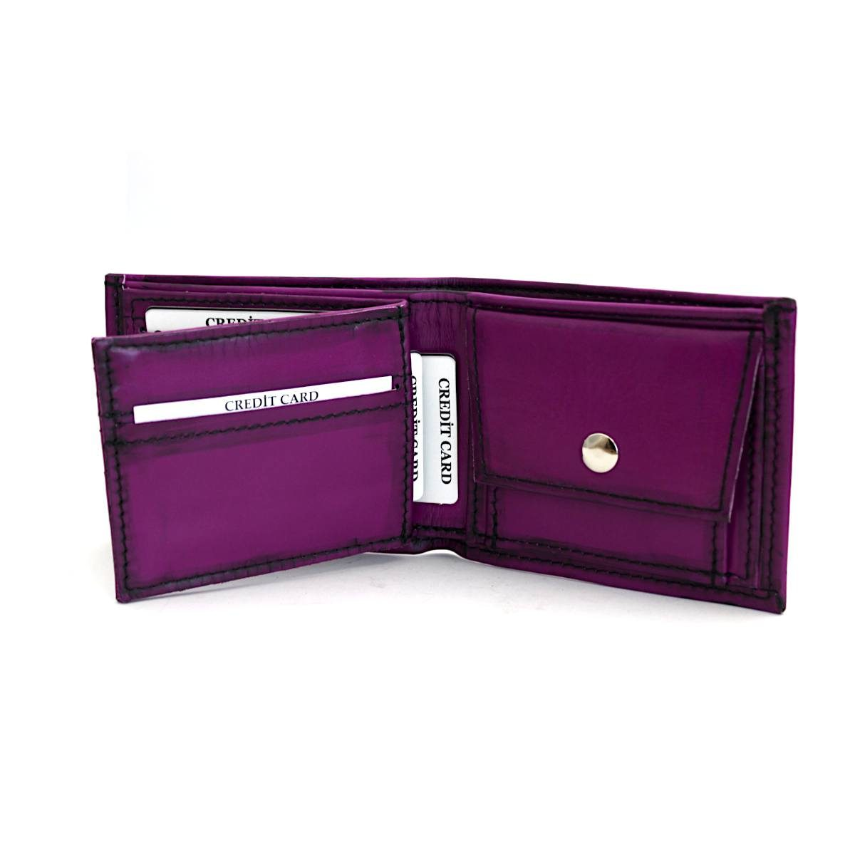 Мъжки кожен портфейл цвят лилав отвътре