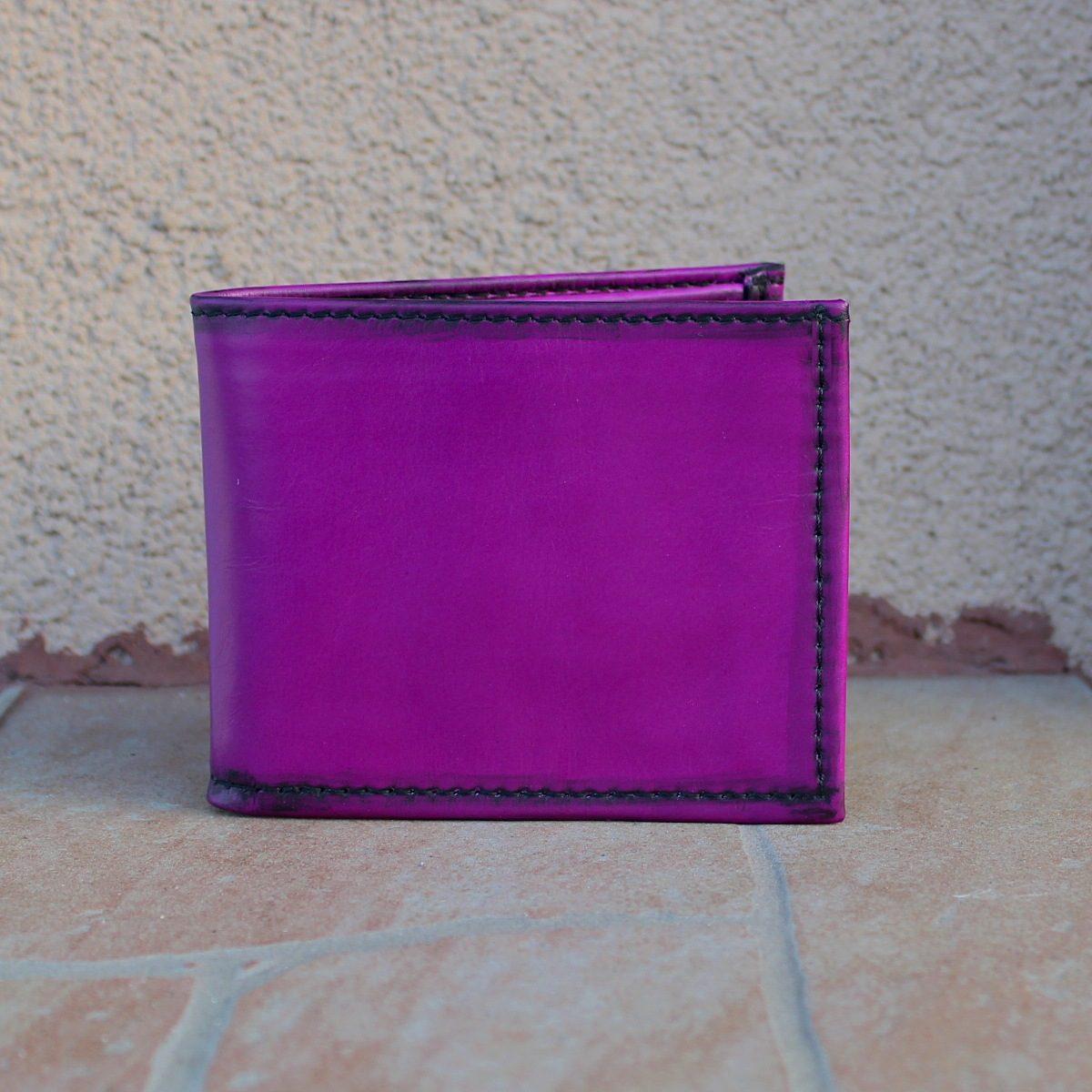 Мъжки кожен портфейл цвят лилав тераса