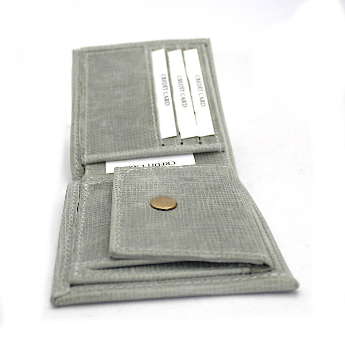 Ръчно изработен светлосив мъжки портфейл вътре