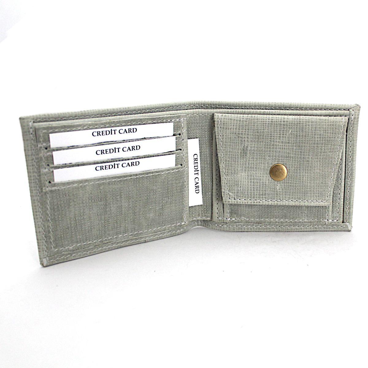 Ръчно изработен светлосив мъжки портфейл отворен