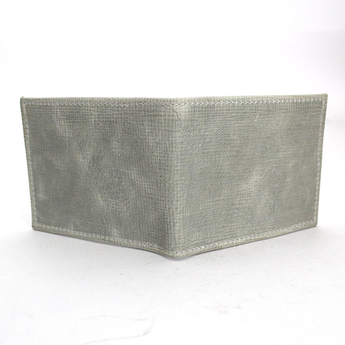 Ръчно изработен светлосив мъжки портфейл отзад