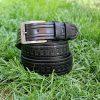 черен мъжки колан естествена кожа провоъгълна шарка