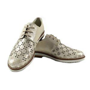 Дамски Обувки Естествена Кожа Със Златист Ефект