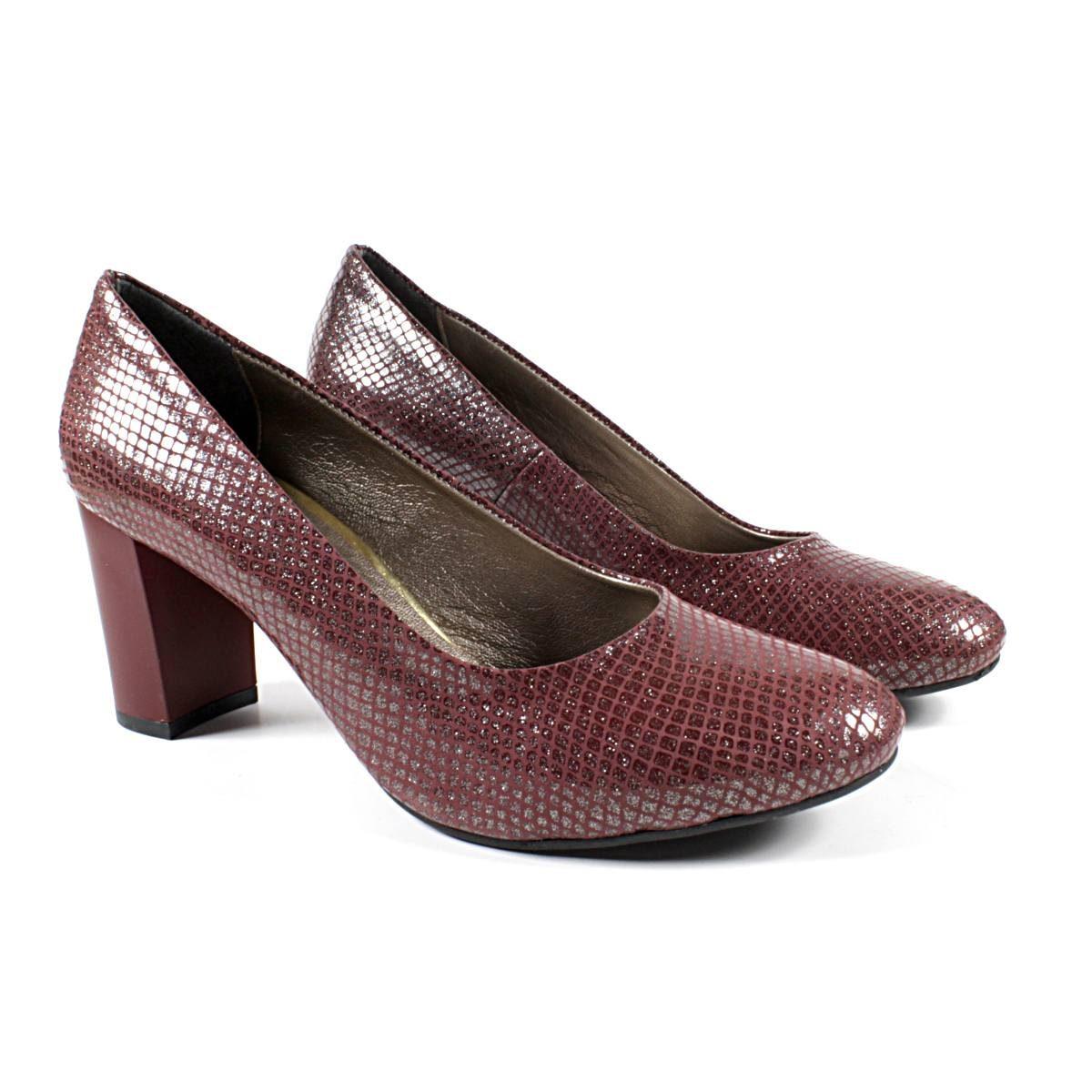Елегантни Дамски Обувки Естествена Кожа Бордо Двете