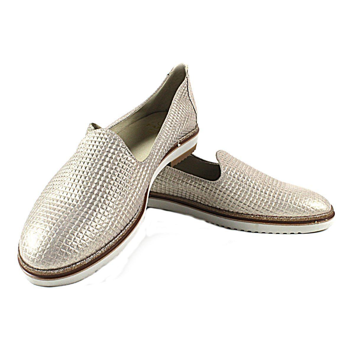 Златисти Дамски Обувки Естествена Кожа с Щампа