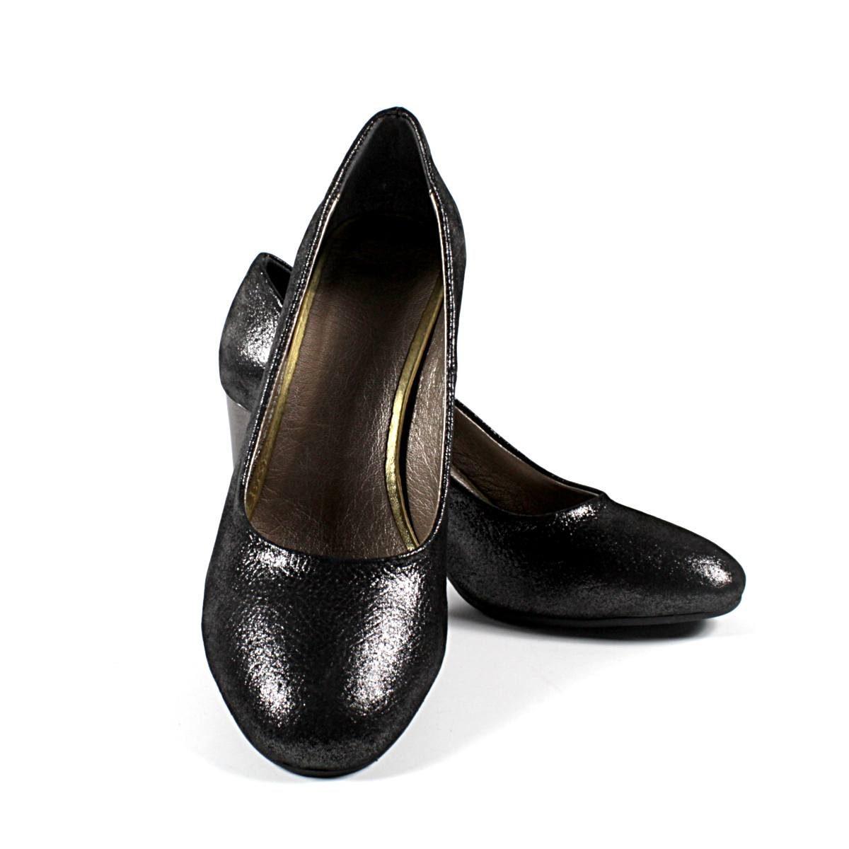 Официални Дамски Обувки Естествена Кожа Черен Сатен с Брокат