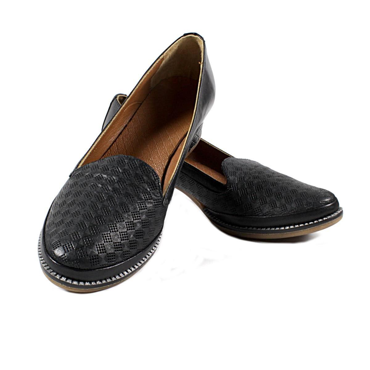 Черни Дамски Обувки Естествена Кожа с Щампа