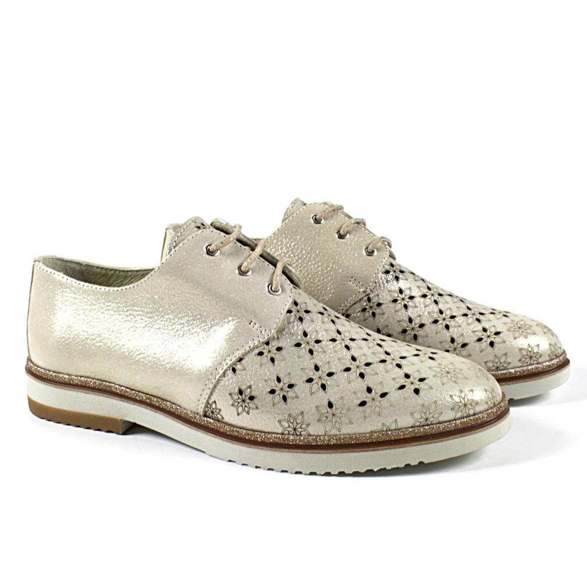 Дамски Обувки Естествена Кожа Със Златист Ефект Двете