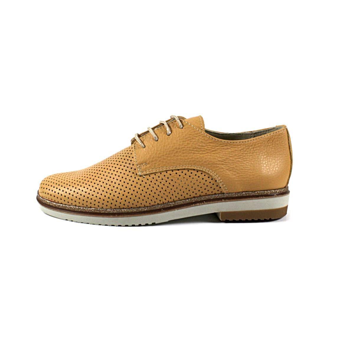 Жълти Дамски Обувки Естествена Кожа Перфорирана Една