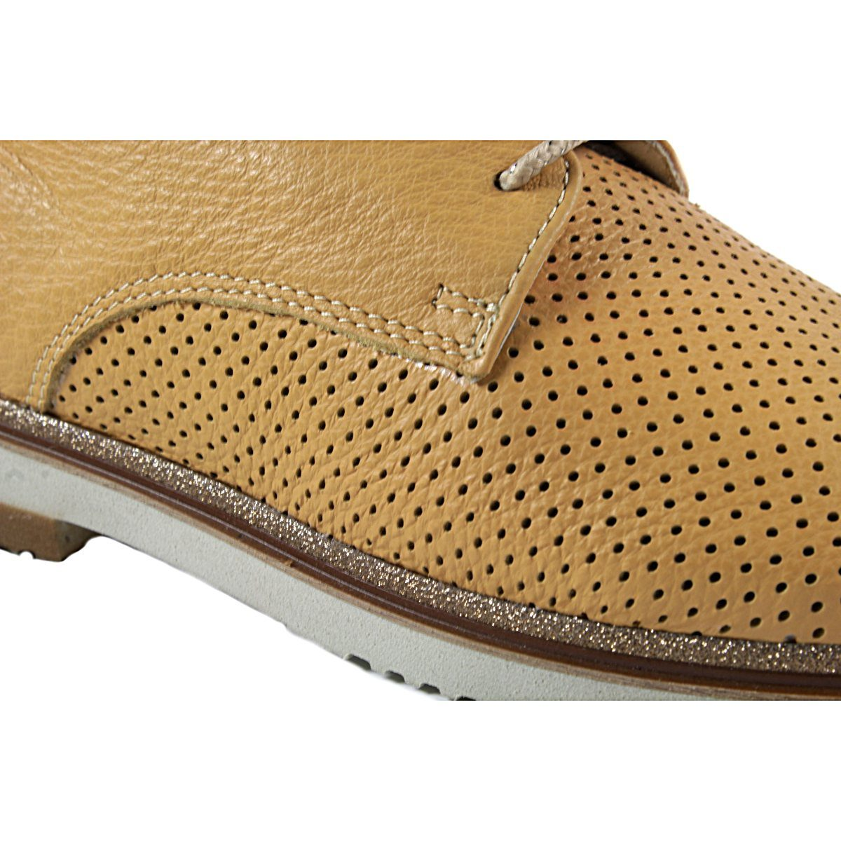 Жълти Дамски Обувки Естествена Кожа Перфорирана Отблизо