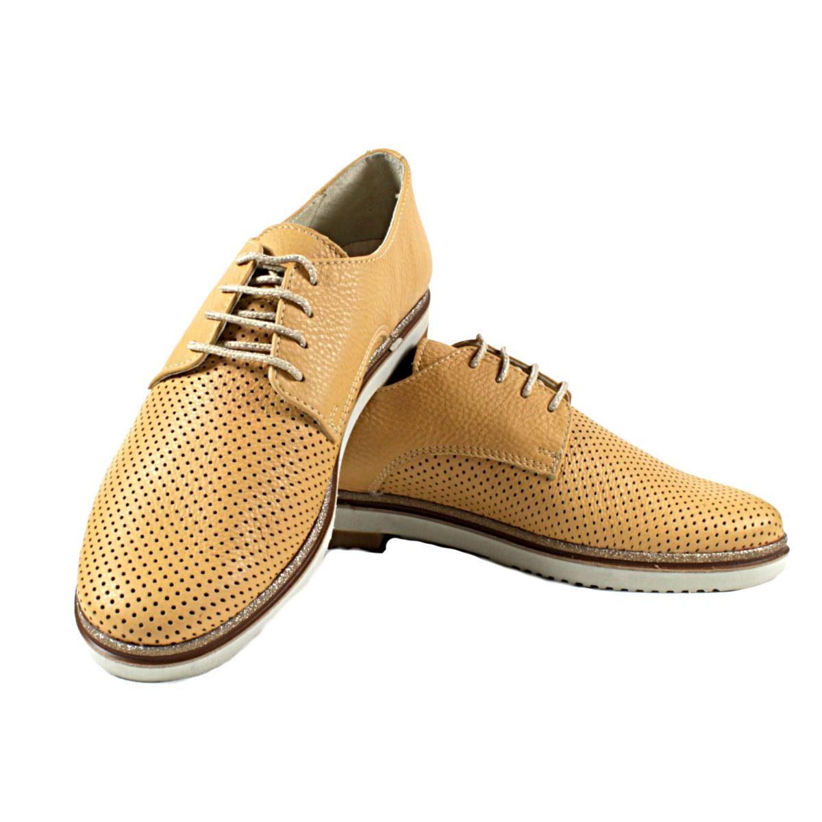 Жълти Дамски Обувки Естествена Кожа Перфорирана
