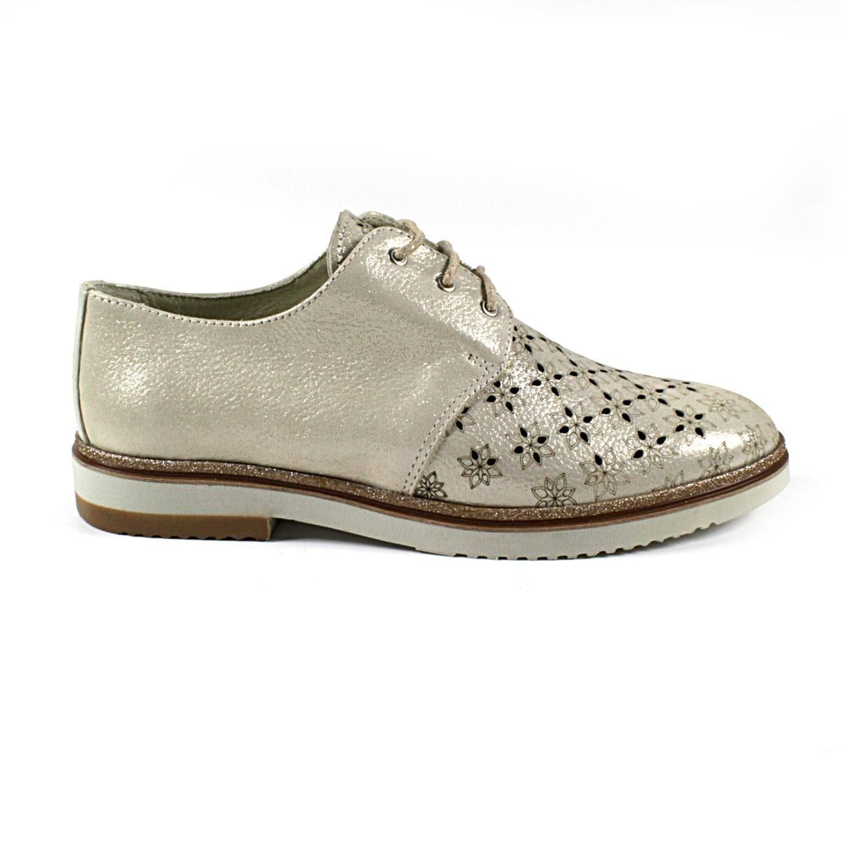 Дамски Обувки Естествена Кожа Със Златист Ефект Едната