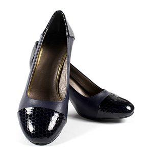 Официални Дамски Обувки Естествена Кожа Тъмносини с Лак Кроко