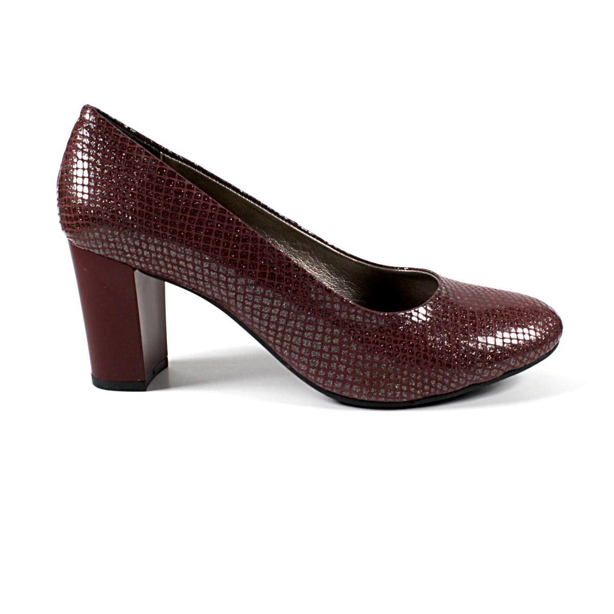 Елегантни Дамски Обувки Естествена Кожа Бордо Едната