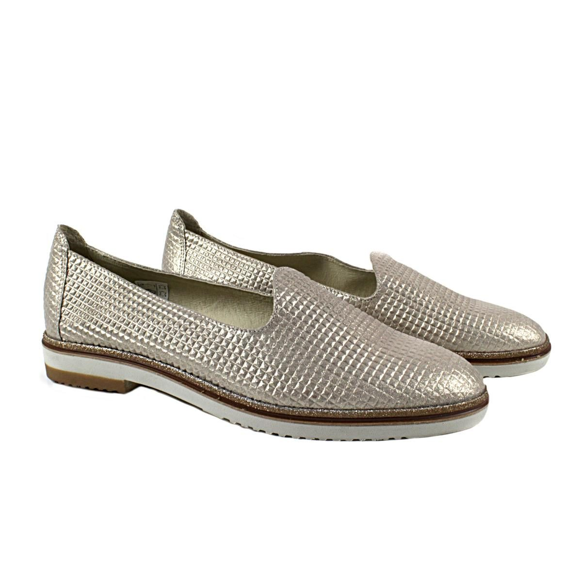 Златисти Дамски Обувки Естествена Кожа с Щампа Двете