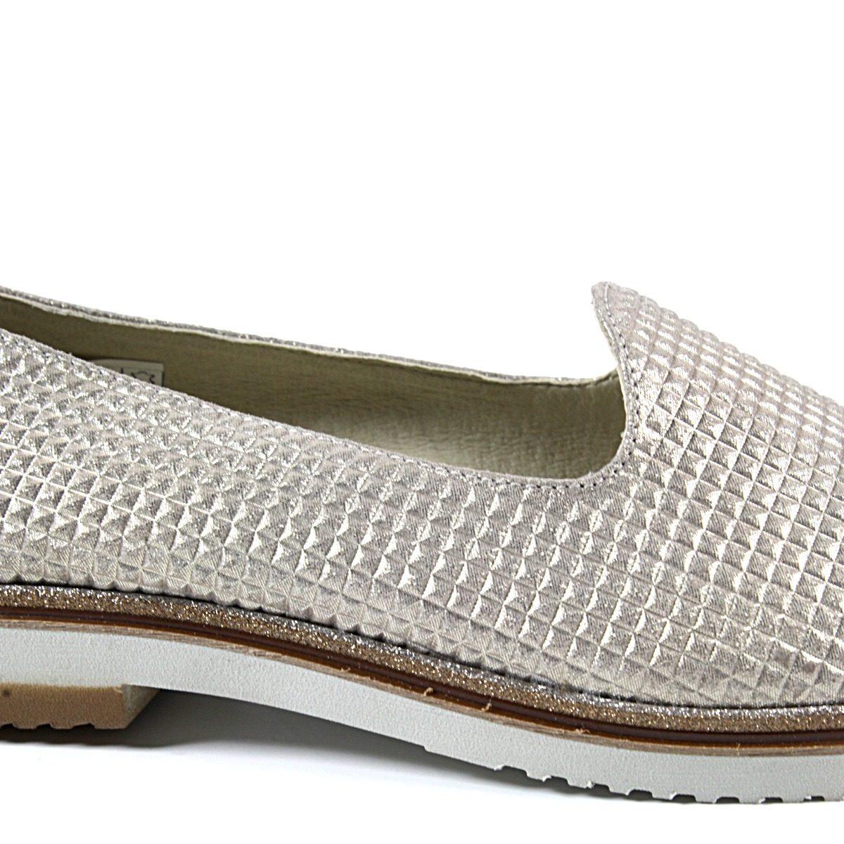 Златисти Дамски Обувки Естествена Кожа с Щампа Отблизо
