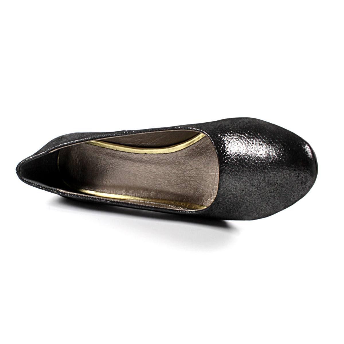 Официални Дамски Обувки Естествена Кожа Черен Сатен с Брокат Отвътре