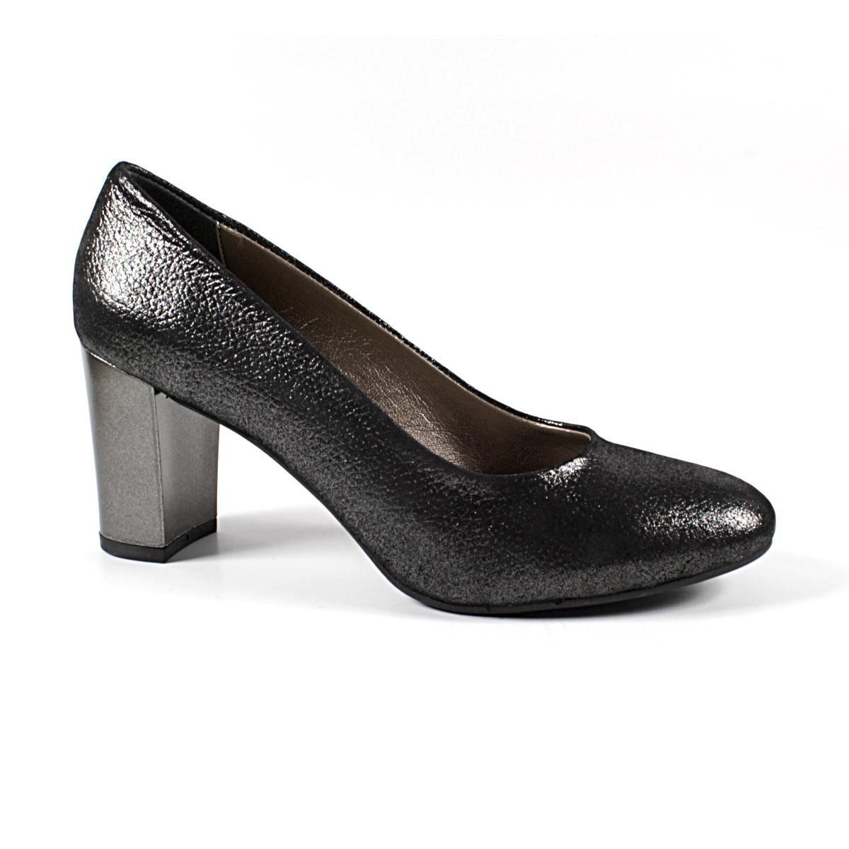 Официални Дамски Обувки Естествена Кожа Черен Сатен с Брокат Едната