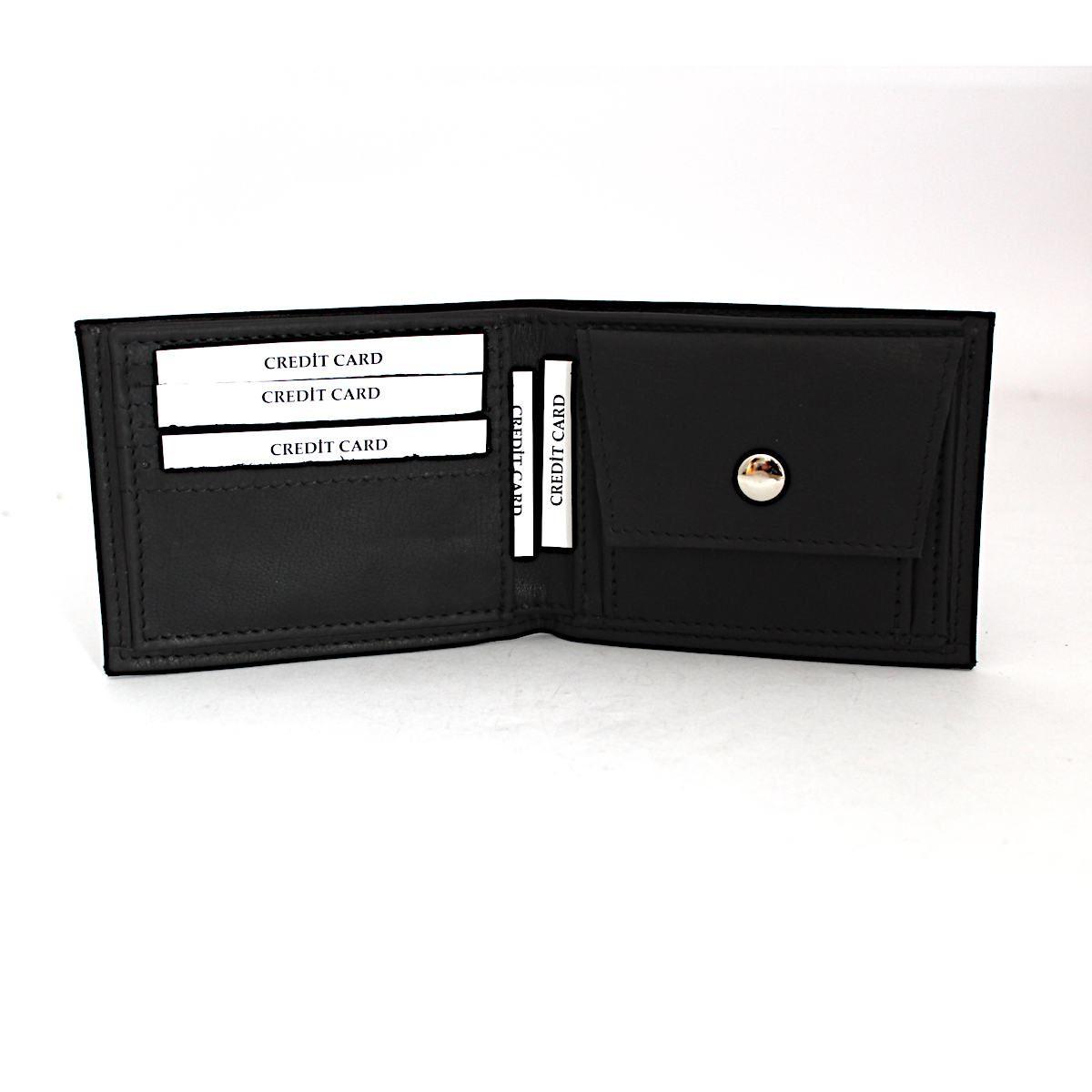 Ръчно Изработен Кожен Портфейл с Инициали Отворен