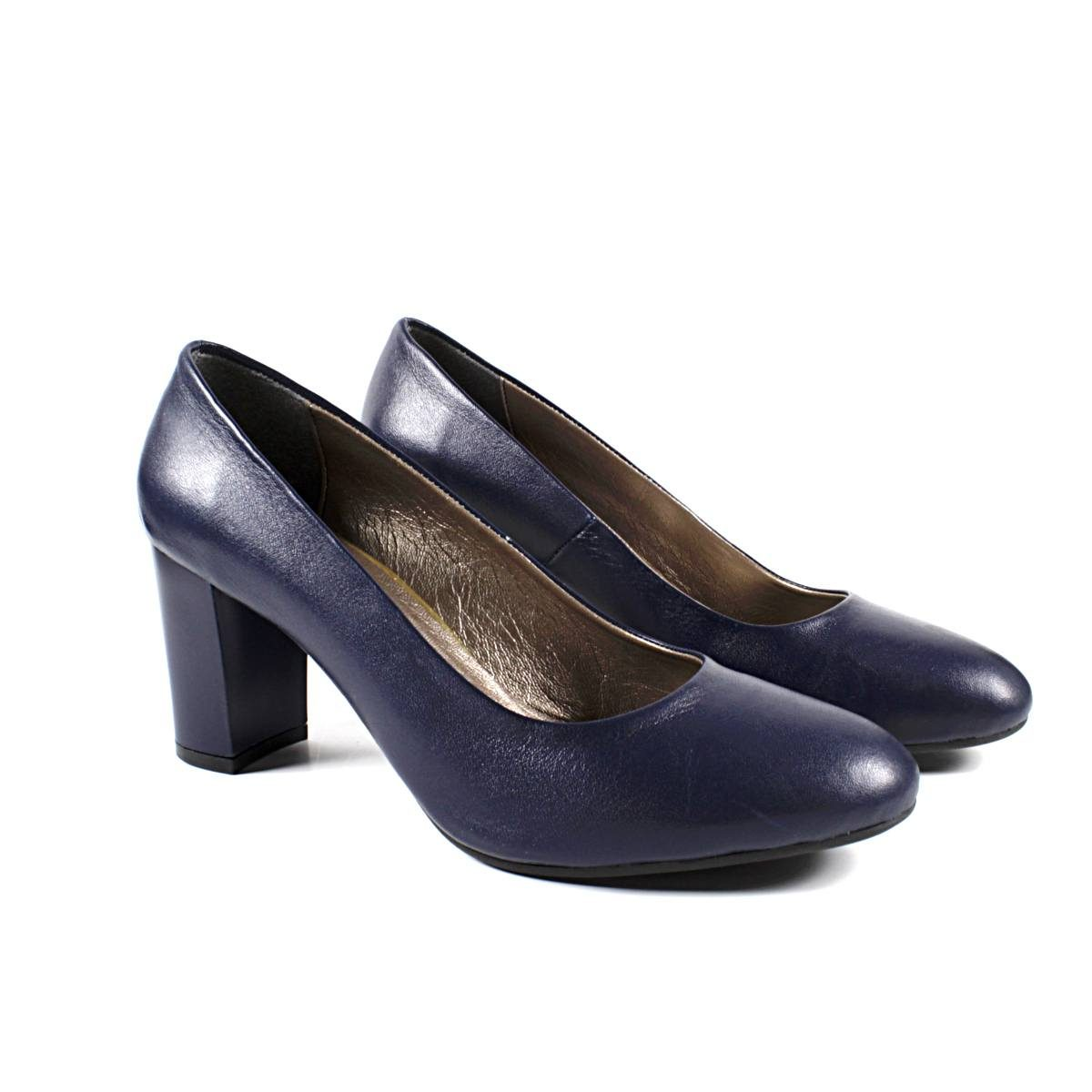 Тъмносини Официални Дамски Обувки Естествена Кожа Двете
