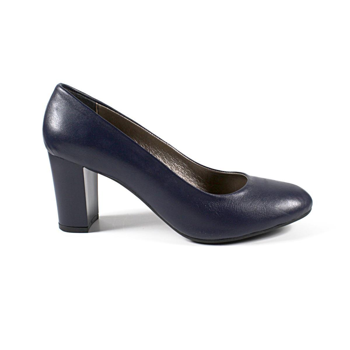 Тъмносини Официални Дамски Обувки Естествена Кожа Едната