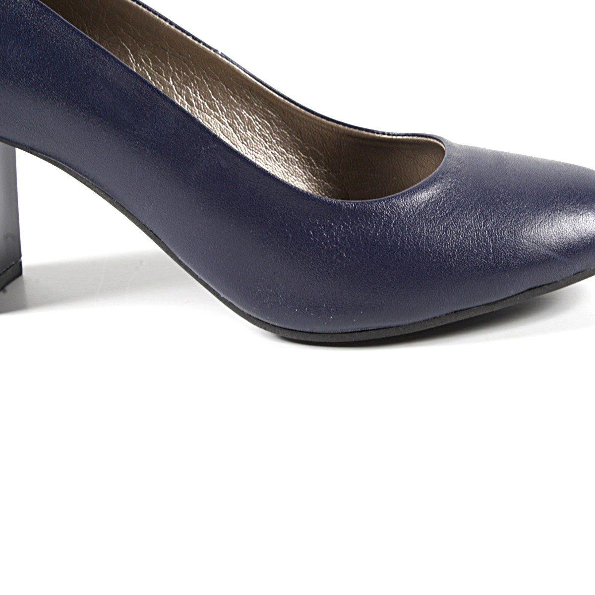 Тъмносини Официални Дамски Обувки Естествена Кожа Отблизо