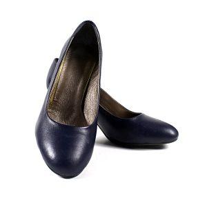 Тъмносини Официални Дамски Обувки Естествена Кожа