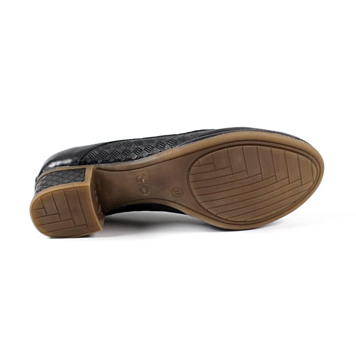 Черни Дамски Обувки Естествена Кожа с Щампа Ходило