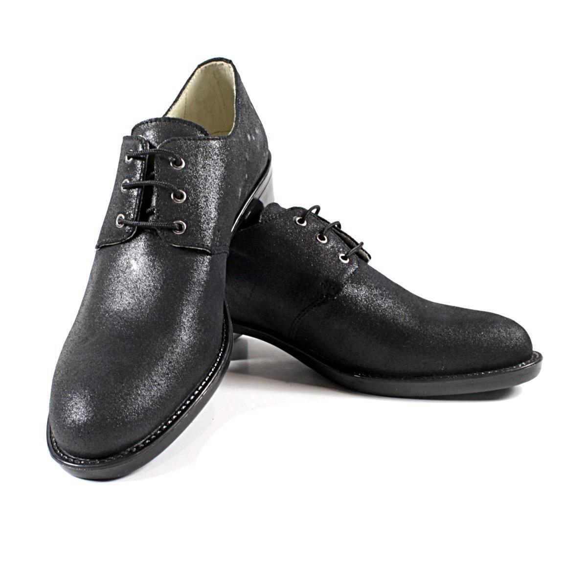 Черни Дамски Обувки от Естествена Кожа с Брокат