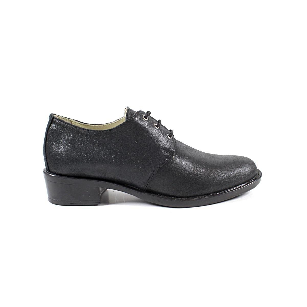 Черни Дамски Обувки от Естествена Кожа с Брокат Една