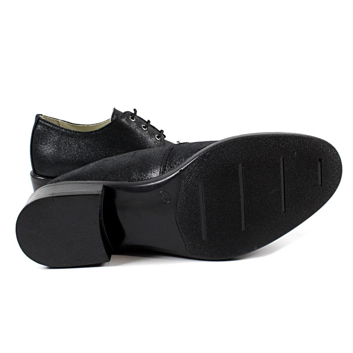 Черни Дамски Обувки от Естествена Кожа с Брокат Ходило