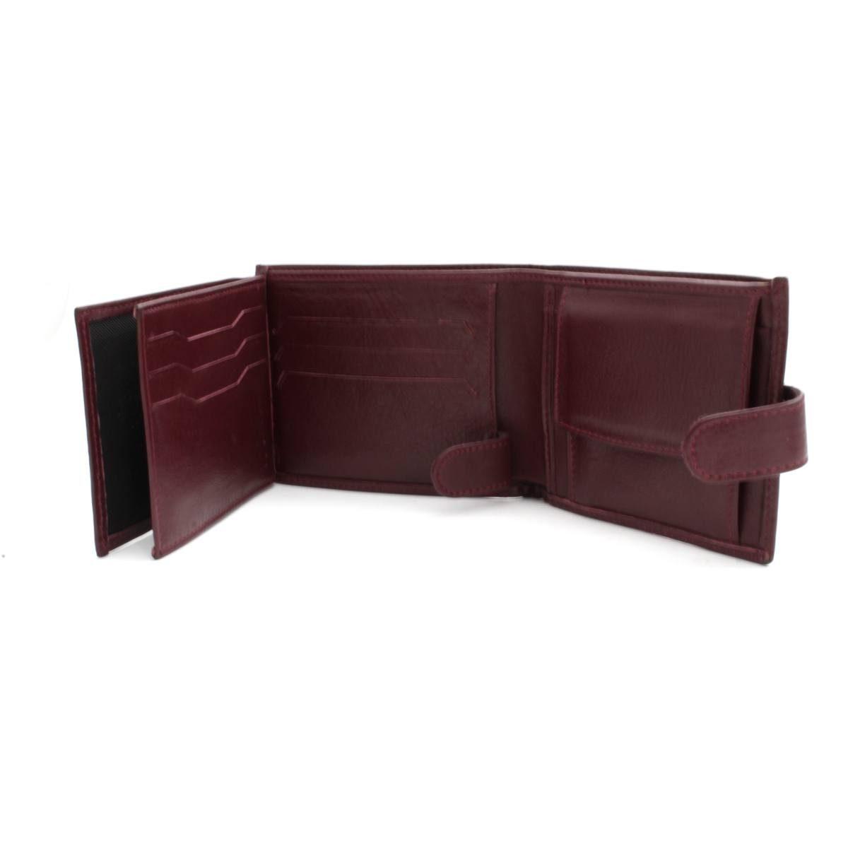 мъжки портфейл естествена кожа бордо карти