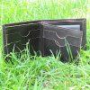 Тъмно Кафяв Ръчно Изработен Кожен Портфейл Трева Отворен