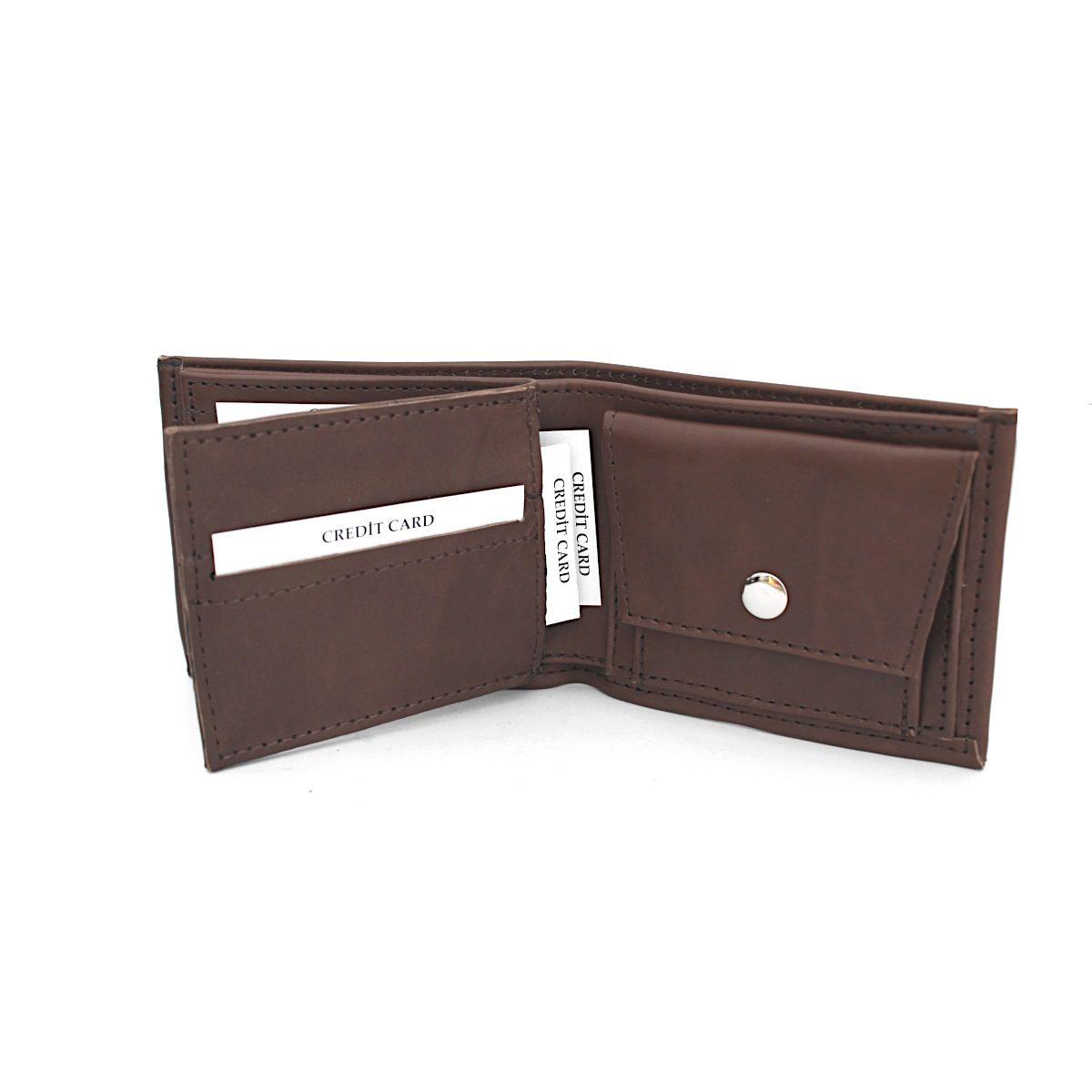 Ръчно изработен кафяв кожен мъжки портфейл карти