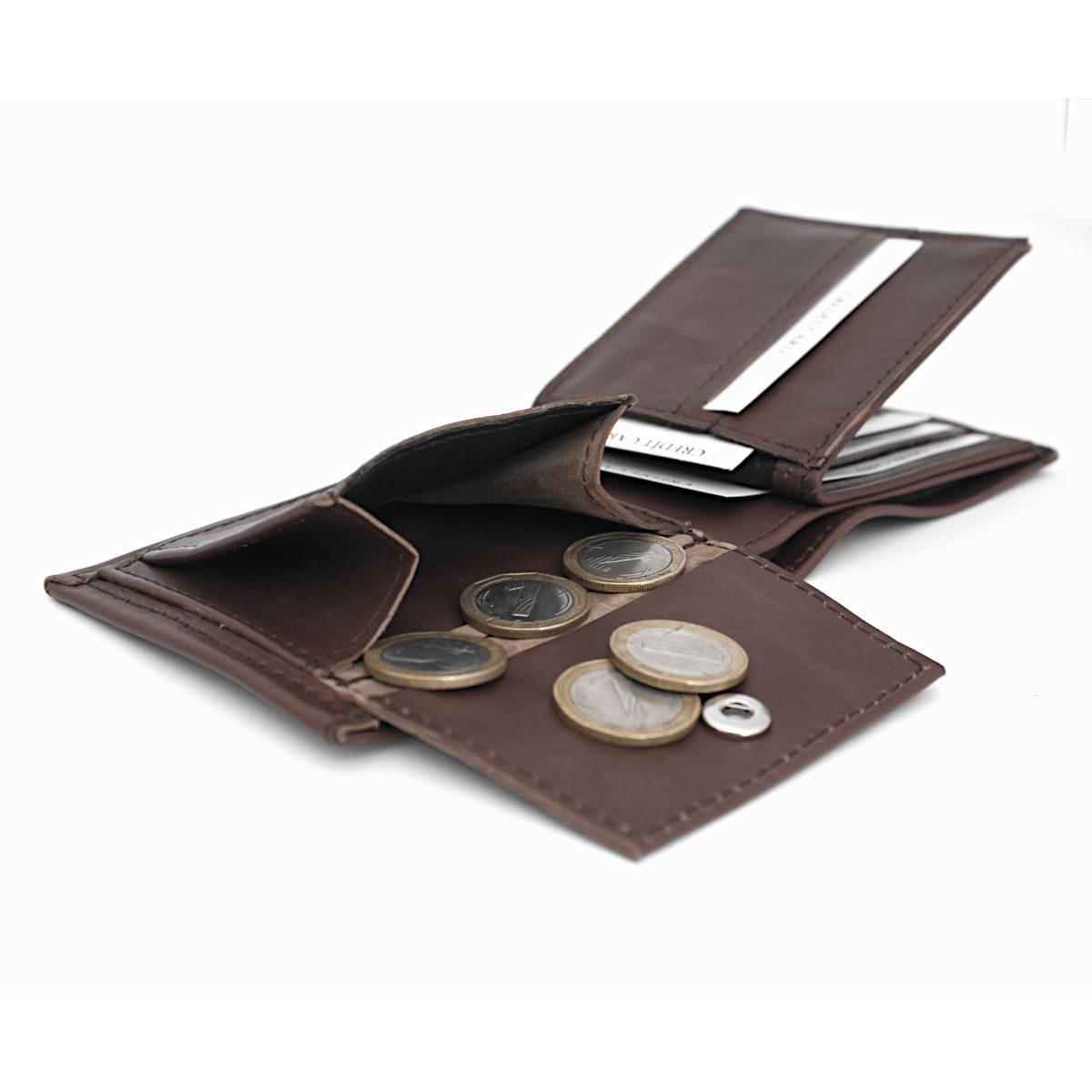 Ръчно изработен кафяв кожен мъжки портфейл монетник