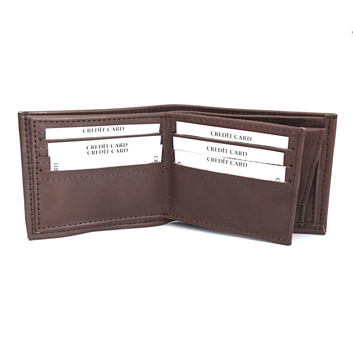 Ръчно изработен кафяв кожен мъжки портфейл отворен