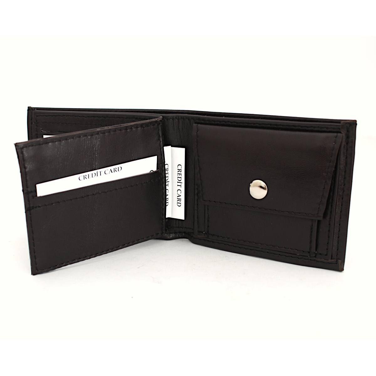 Ръчно изработен тъмнокафяв мъжки кожен портфейл карти