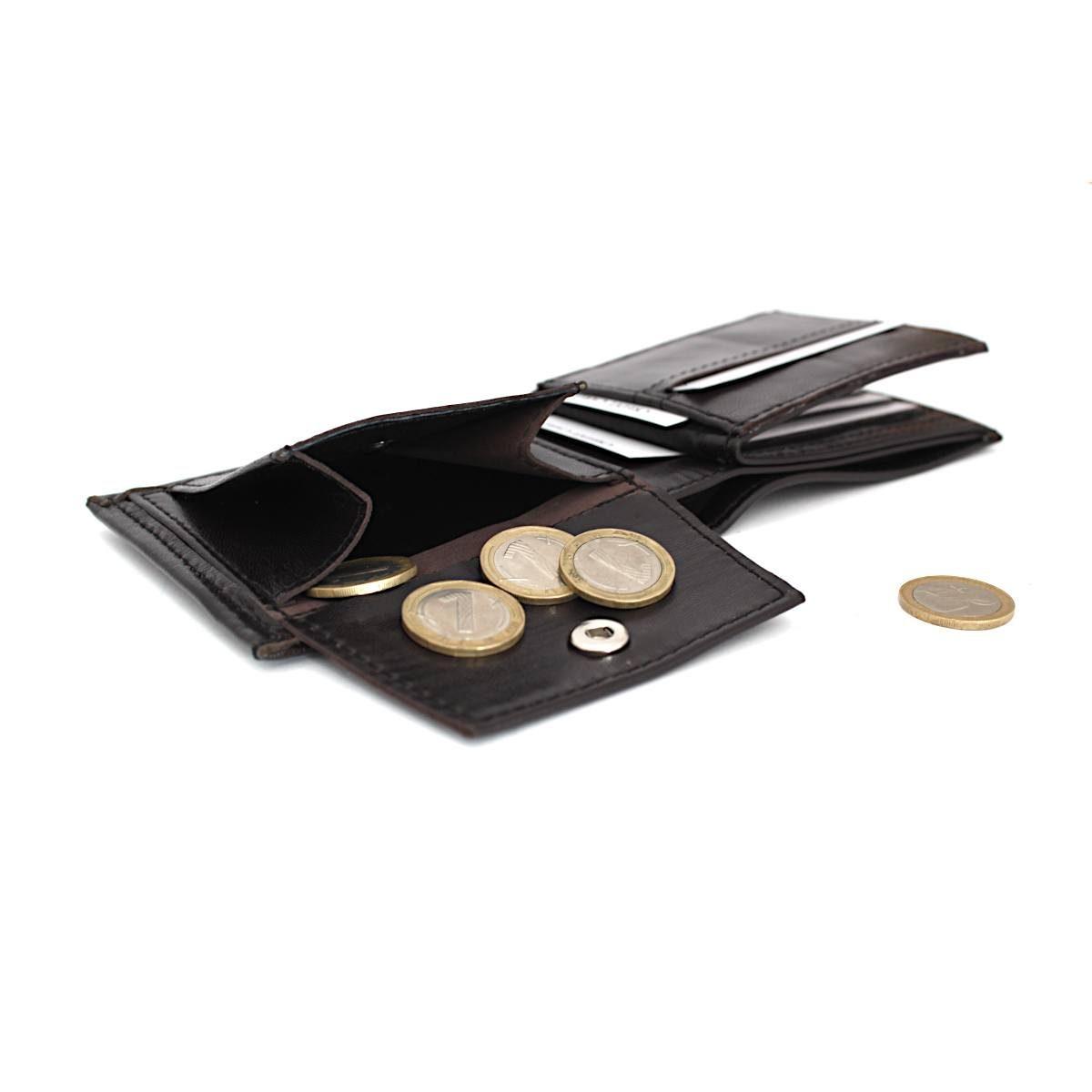 Ръчно изработен тъмнокафяв мъжки кожен портфейл монетник