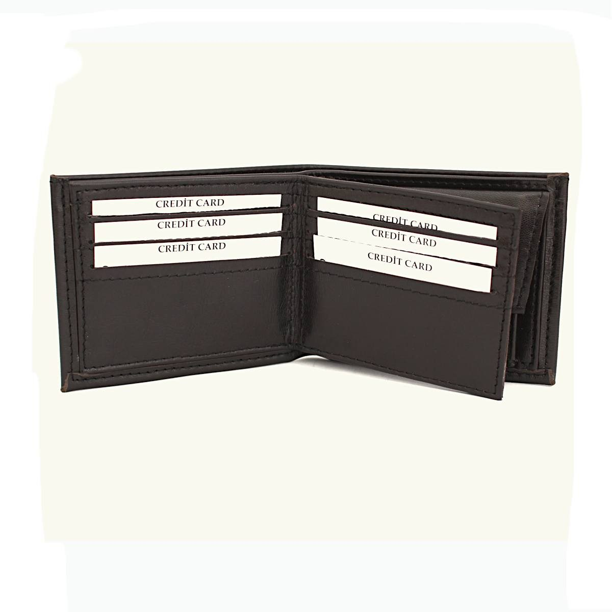 Ръчно изработен тъмнокафяв мъжки кожен портфейл отворен