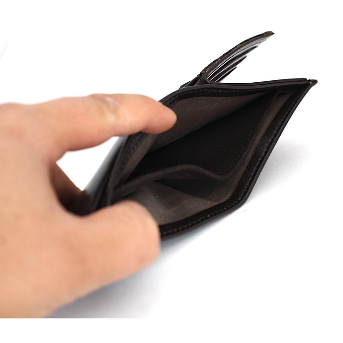 Ръчно изработен тъмнокафяв мъжки кожен портфейл централно отделение