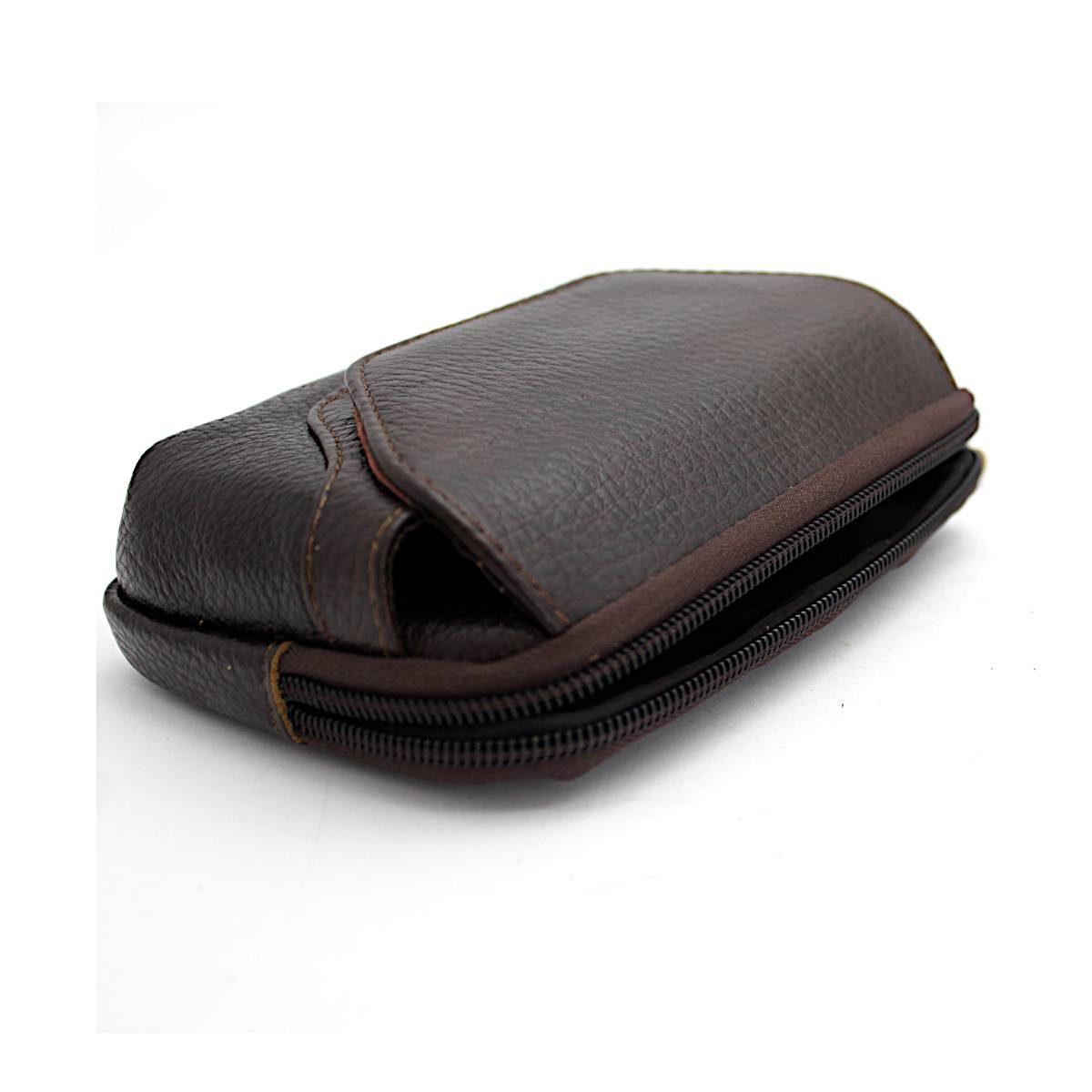 Кафява Мъжка Чанта Естествена Кожа за Колан Отворена
