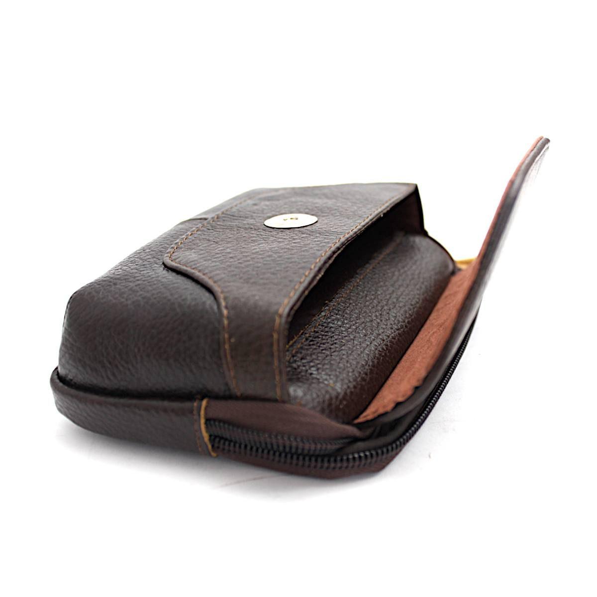 Кафява Мъжка Чанта Естествена Кожа за Колан Преден Джоб