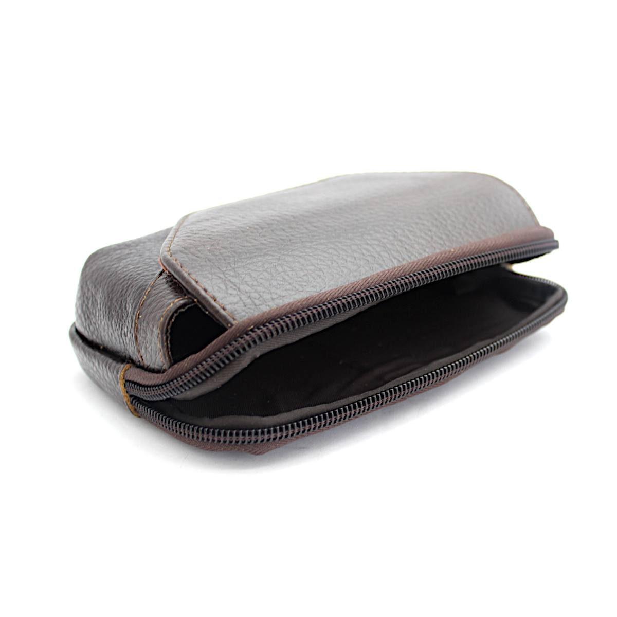 Кафява Мъжка Чанта Естествена Кожа за Колан Централно Отделение