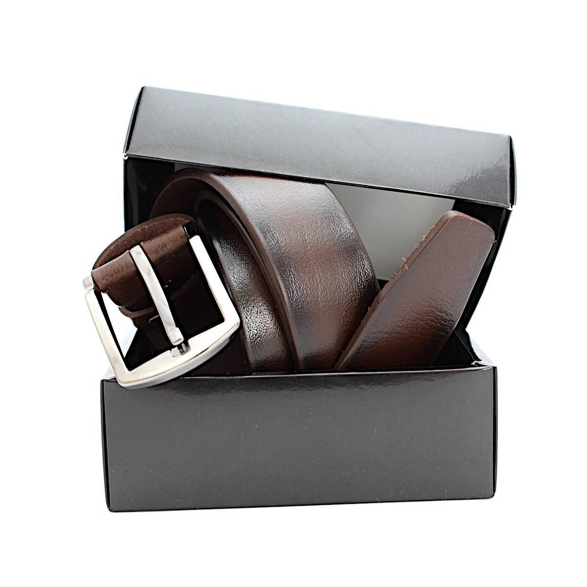 Кафяв Колан Естествена Кожа Черни Ивици Кутия