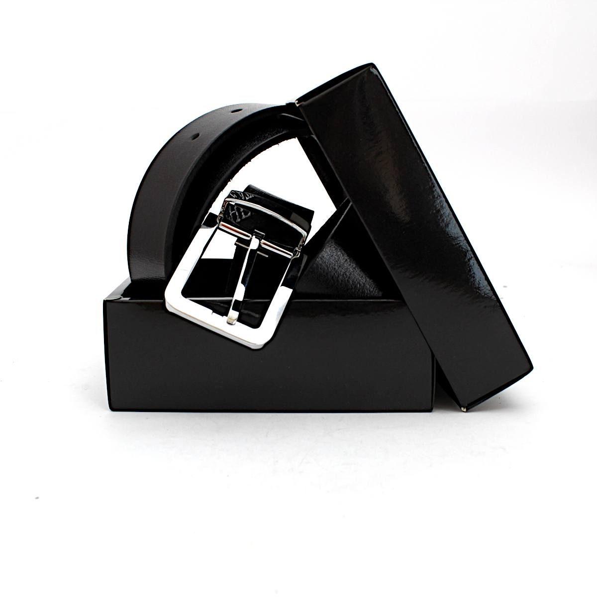 Класически Черен Мъжки Колан Естествена Кожа Кутия