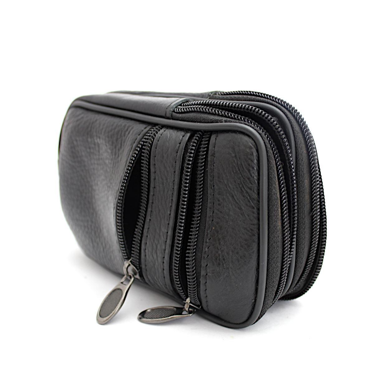 Мъжка Черна Чанта Естествена Кожа за Колан Отделения
