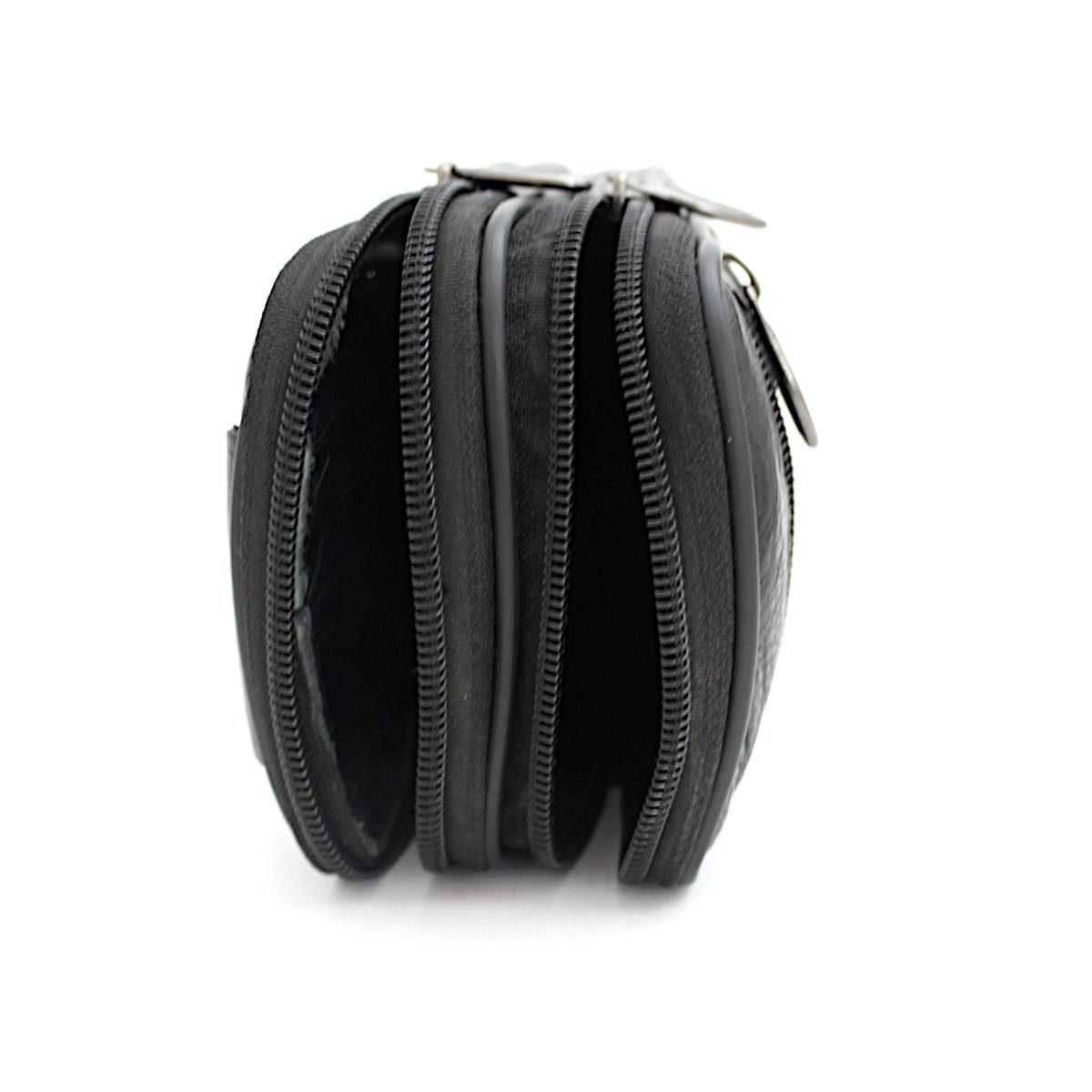 Мъжка Черна Чанта Естествена Кожа за Колан Отпред