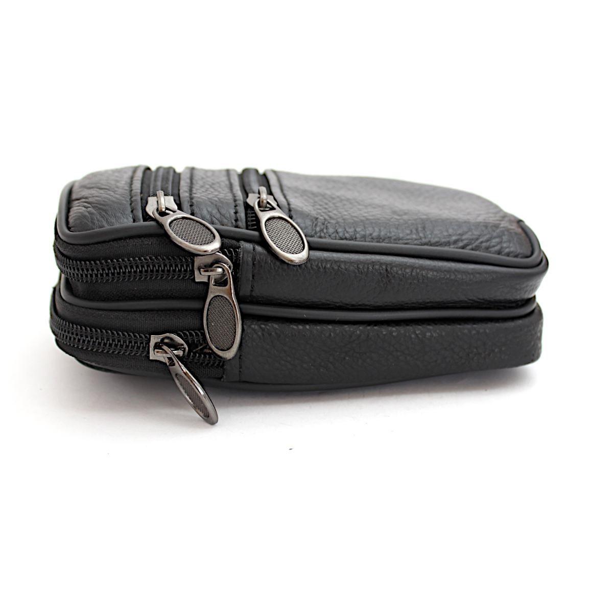 Мъжка Черна Чанта Естествена Кожа за Колан Отстрани