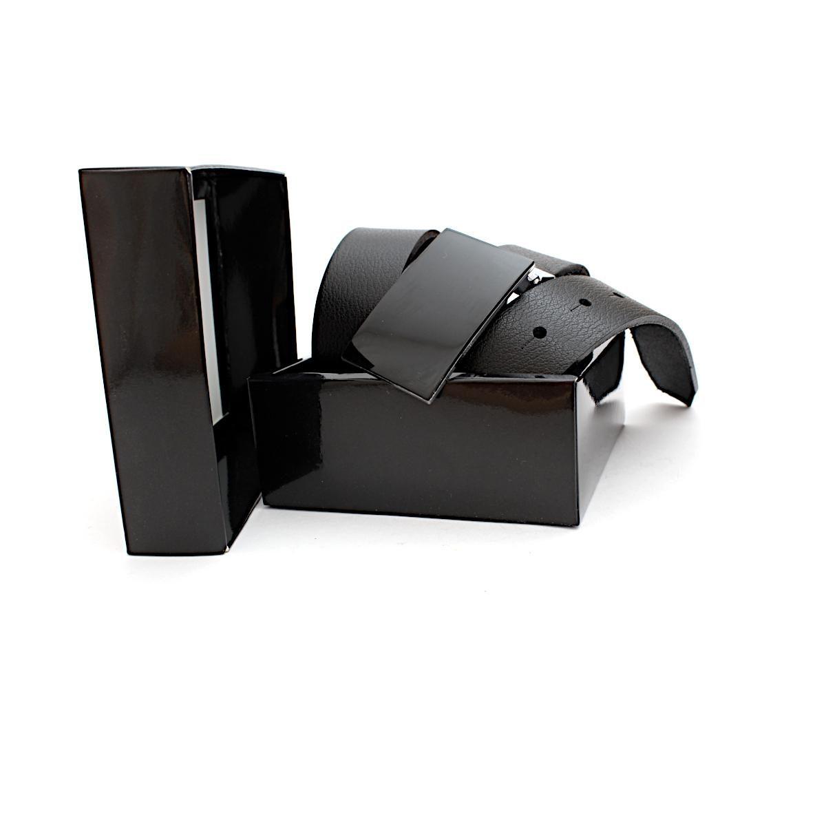 Мъжки Класически Колан с Елегантна Плочка Кутия